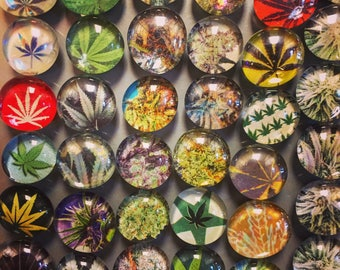 Set of 5 Cannabis Magnets- Glass Bead weed magnets, Pot, Marijuana, 420, Strong Refrigerator Magnets