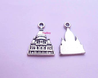 Set of 15 charms Taj Mahal silver REF395X3