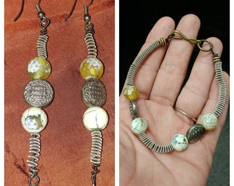 Guitar String Jewelry Set Earrings and matching bracelet made with faceted Agate
