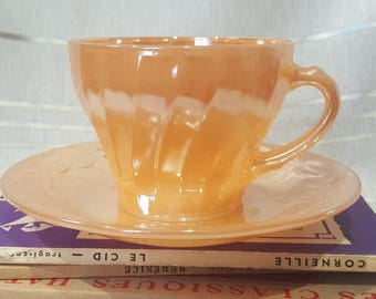 Vintage Fire King Anchor Hocking Opalescent Peach Teacup and Saucer