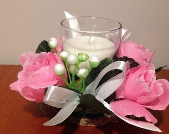 Easter centerpiece/ Easter table centerpiece / Easter candle ring/ Easter candle hold/Artificial flowers