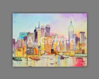 Instant Digital Download Print: New York City Skyline Watercolor Painting