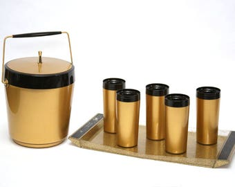Mid Century Ice Bucket With Serving Tray and 5 Matching Tumblers