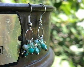 Moss Opal Cluster Earrings