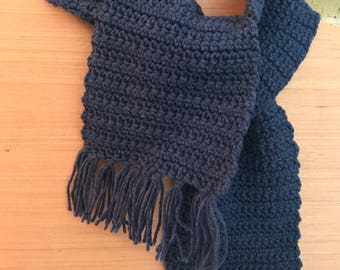 Blue Crocheted  Scarf.