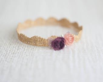 Lace Newborn Crown - Gold, baby crown, newborn princess crown, baby accessories, photo prop, newborn prop