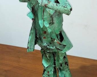 """Original Larry Whidden copper sculpture """"Blues Man"""""""