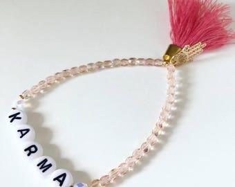 KARMA bracelet with Hamsa hand of Fatima & tassel