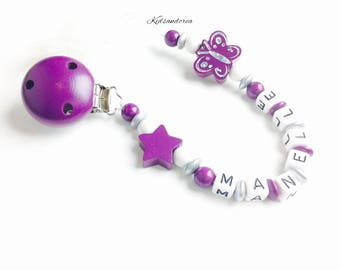 Pacifier clip personalized wooden purple white silver