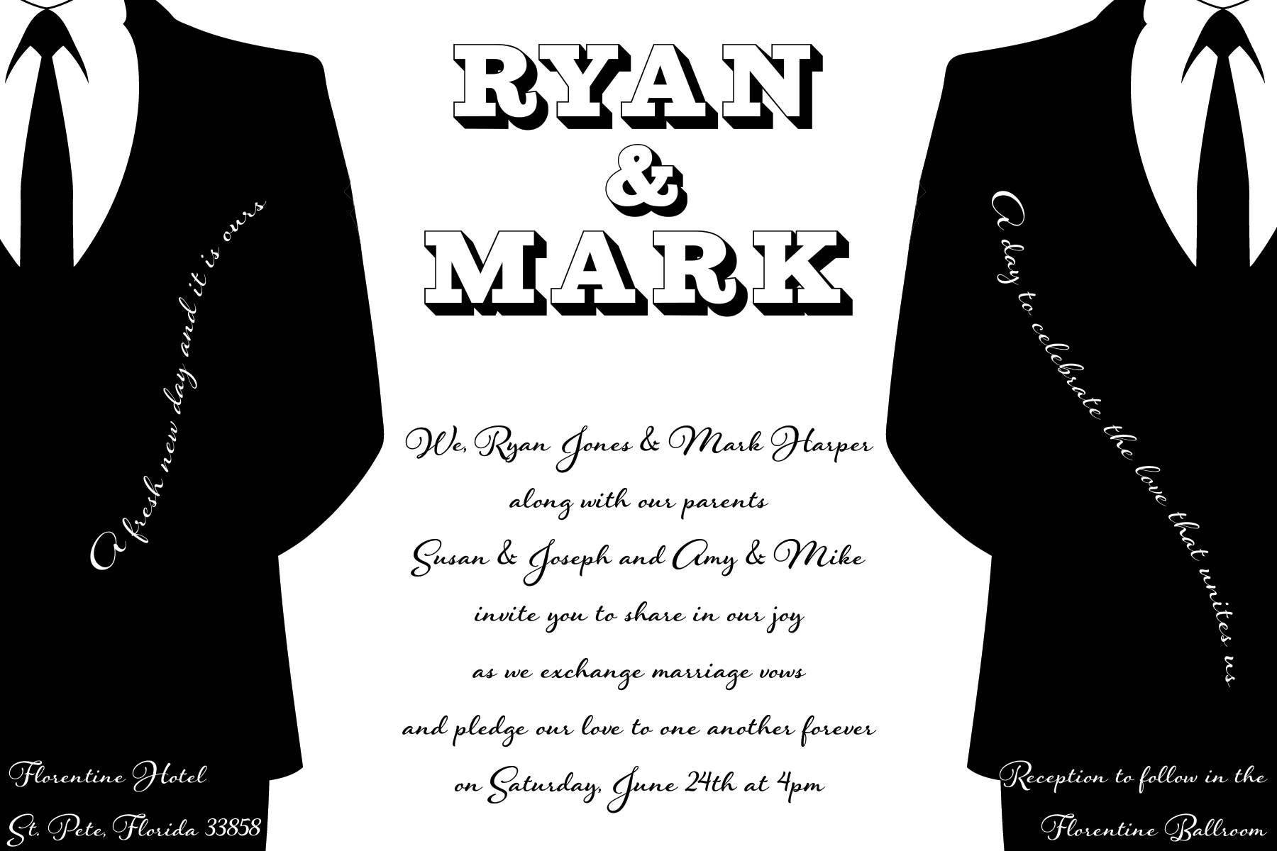 lgbt same sex wedding invitation custom design printable - Same Sex Wedding Invitations