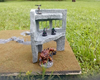 Modular scatter Terrain warhammer40k aos LOTR dungeons and dragons ruined Building 28mm table top gaming hand painted jail
