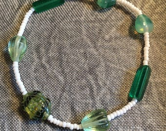 Green and White Glass Beaded Bracelet
