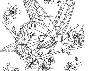 Butterfly on Cherry Blossom Branch - Coloring Page