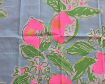"""Lilly Blue Pink Lemonade Fabric 18"""" Square or By The Yard"""
