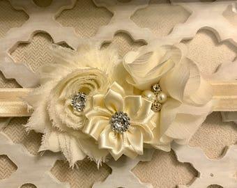 Vanilla White Floral Rhinestone Headband