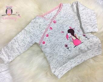 Baby shirt cream & pink - girls sweater print - button placket sweat shirt - hand made children's clothing - tailor made child