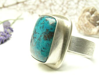 Azurite Ring, Sterling Silver 925,Oxidised,Handmade,Coctail Ring,Statement Rings