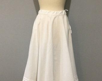 1950s White Cotton Full Circle Petticoat, Lace Trim, Pintuck, Drawstring Tie Waist, Fifties Original Rocknroll Swing Dance Full Skirt, Vtg