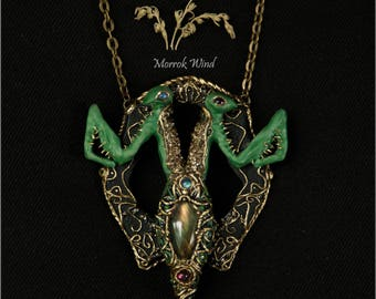 Praying mantis necklace. Siamese two-headed  . Luxury unusual pendant with labrador, garnet ,pyrite and plagioclase. Siamese twins.