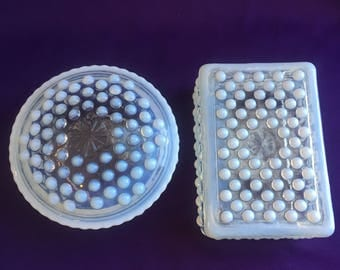 Vintage moonstone clear/ opalescent glass vanity boxes