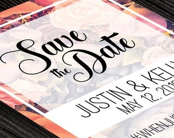 Save the Dates Invitation | Pink Floral Save the Date Invitation