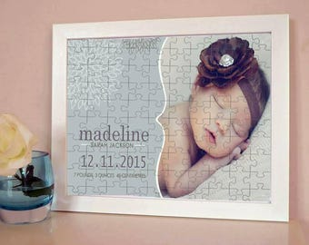 Baby Personalised Announcement Jigsaw - Gift - Nursery - Baby Shower - New Baby - Christening
