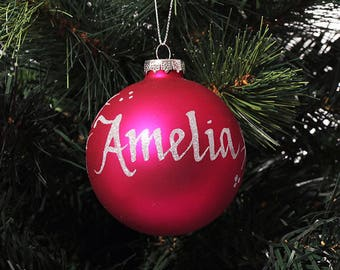 Hot Pink Glass Personalised Christmas Decoration