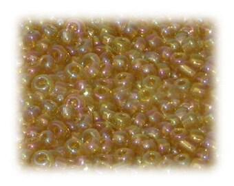 6/0 Gold Rainbow Luster Glass Seed Beads, 1 oz. bag