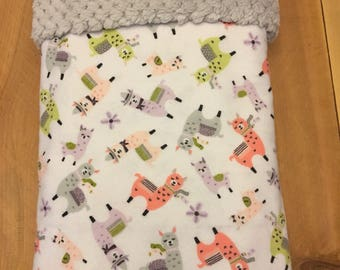 Multi colored-llama  themed baby blanket