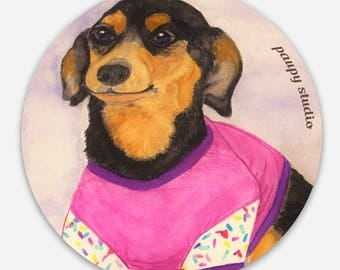 STICKER Effie Dog - chihuahua duschund in her birthday cupcake outfit