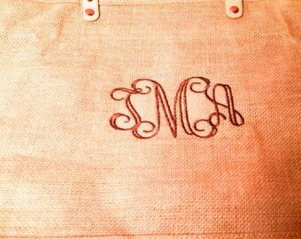 Brown Jute Bag - Jute Tote Bag - Burlap Bag - Monogrammed Gift - Monogrammed Tote - Monogrammed Bag - Beach Bag - Pool Bag - Jute Burlap