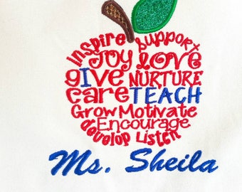 Teacher Tote Bag - Teacher Gift - Teacher Appreciation - Apple Tote - Embroidered Tote Bag - Personalized Tote - Teacher Saying