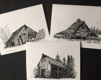 Hand drawn barn notecards