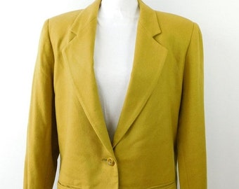 30% SPRING SALE Vintage Sag Harbor Greenish Yellow Pure New Wool One Button Suit Minimal Evening Long Sleeve Blazer Jacket Sz 14 Large