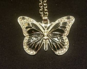 Black and White Butterfly Enamel White Crystal Pendant/Necklace