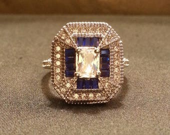 Another Art Deco Pleaser!  Ladies Blue and White Sapphire Silver Dinner Ring Size 8