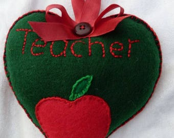 Handsewn felt 'Teacher' heart gift