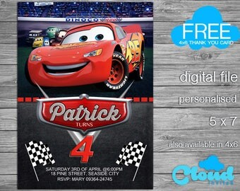 Cars Invitation, Cars, Cars Birthday Invitation, Cars Party, Lightning McQueen, Lightning McQueen Invitation,Birthday Printables
