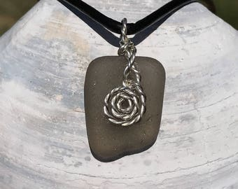 Sterling silver wire wrapped gray sea glass necklace