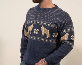 Vintage Wolf Sweater - Mens Large Cotton Blend Blue Pullover by Northern Elements -Christmas Fall Menswear
