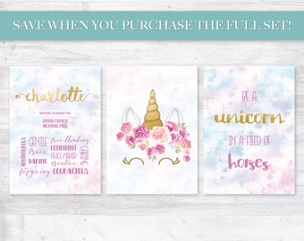 Kids Name Meaning, Digital Personalized Printable Set, Unicorn, Pink Purple and Gold, With Faux Gold Foil