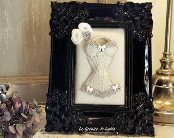 Cadre bustier romantique guêpière corset noir laqué