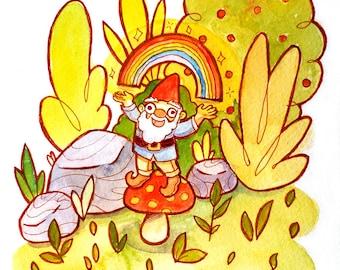 Garden Gnome and a Rainbow Watercolor Art Print