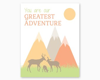 MOUNTAIN NURSERY PRINTABLE, You Are Our Greatest Adventure, Deer Family, Deer Nursery, Baby Shower Gift, Nursery Printable, Instant Download