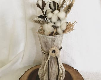 Shabby Chic Painted Vase with Cotton