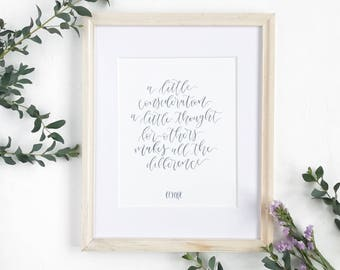 Brush Lettering Disney Quote, Watercolor Calligraphy Print, Winnie The Pooh Quote Print, Typography Print