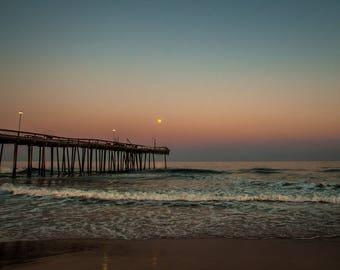 Fine Art Photographic Print - Pier at Dusk. Ocean City, MD. Sunset Beach Photograph. Multiple Print Sizes Available