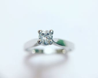 Solitaire ring with Diamond 0.21 Ct. Handmade