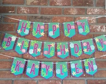 Mermaid Theme Birthday Banner..mermaid banner..mermaid theme party..mermaid party banner