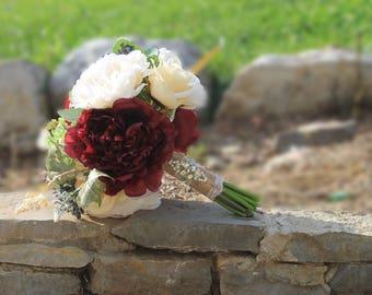 Wedding bouquet, Bride bouquet, Maroon bouquet, burlap bouquet, White bouquet, Cream bouquet, Rustic bouquet, Bridal bouquet,